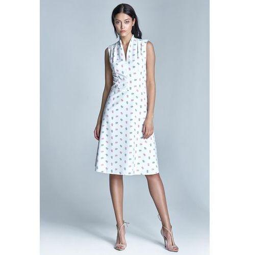 "Nife Ecru elegancka sukienka midi z dekoltem ""v"""