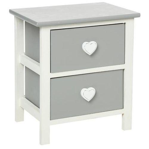 Drewniany stolik nocny heart z 2 szufladami - schowek, pomocni marki Atmosphera créateur d'intérieur
