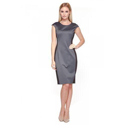 Elegancka sukienka z łączonych materiałów - POTIS & VERSO, kolor szary