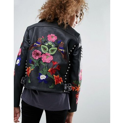 ASOS Premium Leather Biker Jacket with Floral Embroidery and Stud Detail - Black