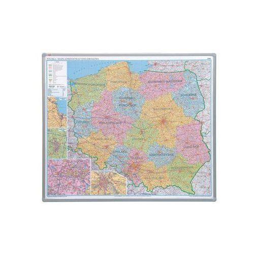 2x3 mapa polski administracyjna 1:700 000 102x120 cm, płyta miękka