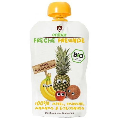 208erdbar Mus do wyciskania banan-ananas-kokos 100g eko erdbar dla dzieci