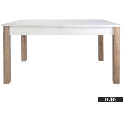 Selsey stół rozkładany eagor 140-190x84 cm zaokrąglonymi rogami biel alpejska - dąb sonoma (5903025386027)