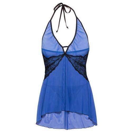 Koszulka nocna + stringi (2 części) bonprix błękit królewski-czarny