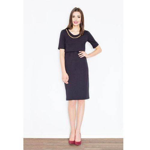 79014c52fb Czarna Elegancka Midi Sukienka z Biżuteryjnym Łańcuszkiem