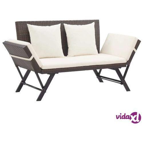 ławka ogrodowa z poduszkami, 176 cm, brązowa, polirattan marki Vidaxl