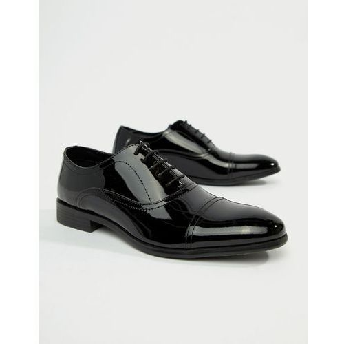 Red tape boston lace up brogue shoes in black patent - black