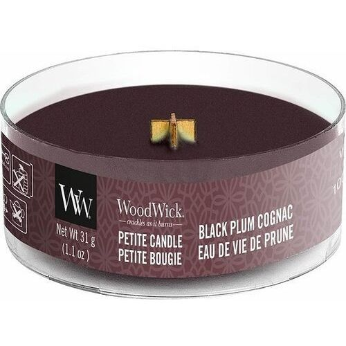 Woodwick Świeca petite black plum cognac