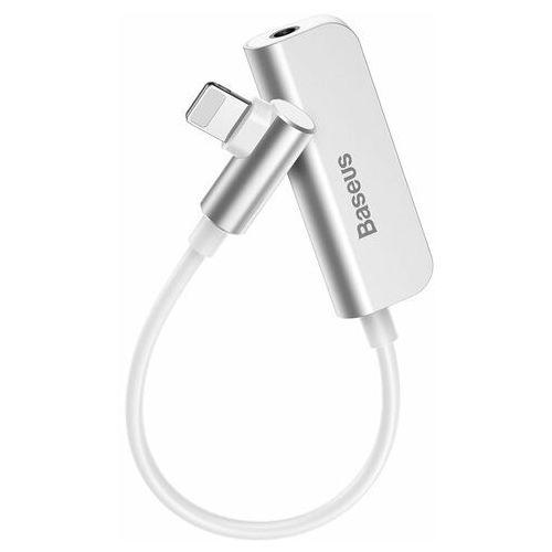 Baseus Audio Converter L50S adapter przejściówka ze złącza Lightning (boczny wtyk) na port Lightning + gniazdo słuchawkowe mini jack 3.5mm biały (CALL50S-02) - Biały (6953156283817)