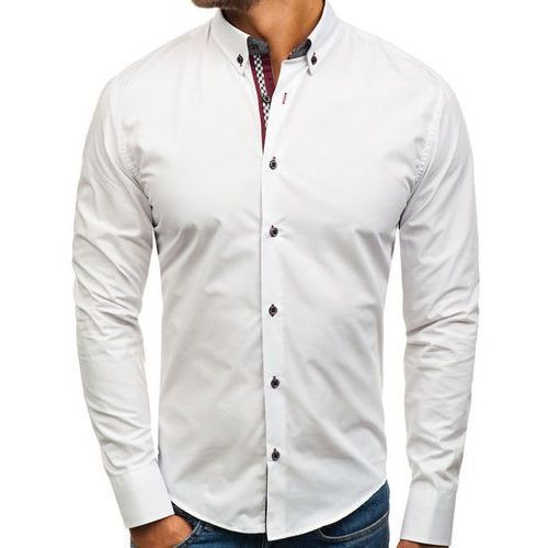 Koszula męska elegancka z długim rękawem biała Bolf 8801, kolor biały