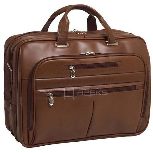 "Mcklein rockford skórzana torba na ramię na laptopa 17"" - brązowy"