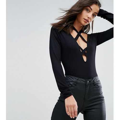 body with long sleeve and caging - black marki Asos tall