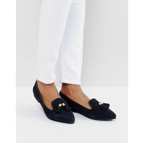 Park lane suede tassle point flat shoes - black
