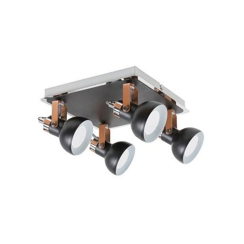 Rabalux Plafon lampa sufitowa balzac 5612 kwadratowa oprawa industrialne reflektorki regulowane czarne matowe szampańskie (5998250356129)