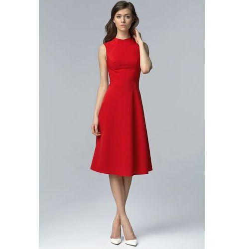 Czerwona elegancka rozkloszowana midi sukienka bez rękawów marki Nife
