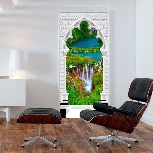 Fototapeta na drzwi - tapeta na drzwi - łuk gotycki i wodospad marki Artgeist