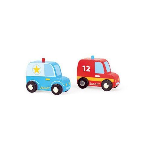 - wóz strażacki i policyjny zestaw drewniany, marki Janod
