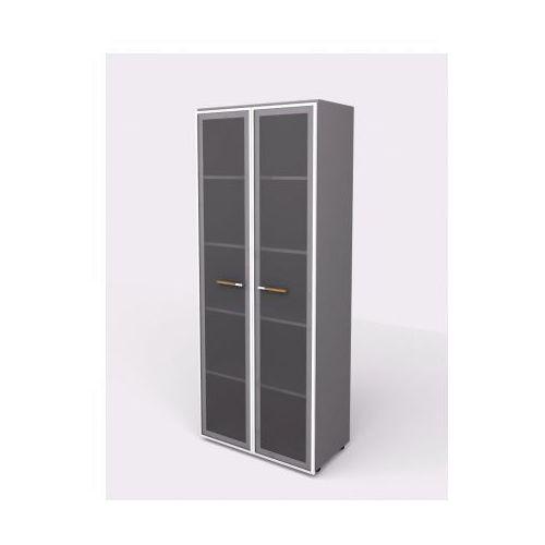 B2b partner Szafa - szklane drzwi, 798 x 425 x 1965 mm, szary