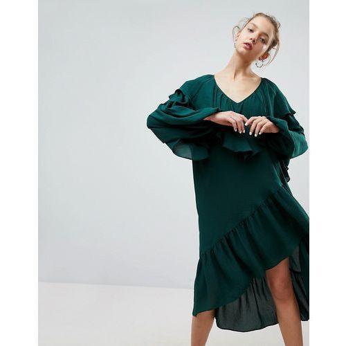 ruffle midi dress with asymmetric hem - green marki Weekday