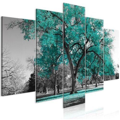 Obraz - jesień w parku (5-częściowy) szeroki turkusowy marki Artgeist