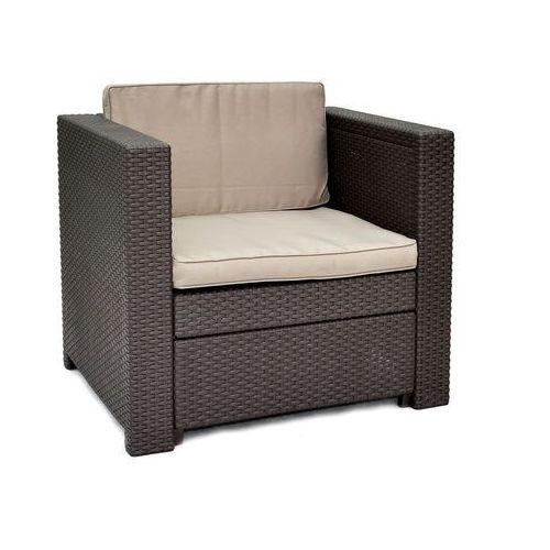 brązowy fotel + szarobrązowe poduszki provence marki Allibert