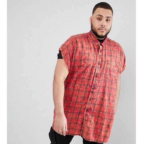 Asos design plus oversized sleeveless tartan check shirt with acid wash - red