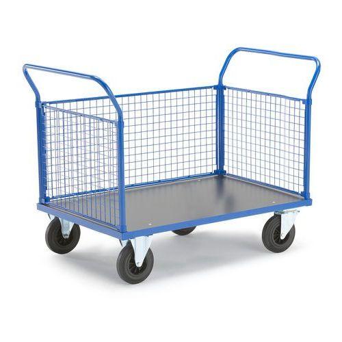 Wózek platformowy, 3 ramy z siatki, 1365x800 mm, bez hamulców, 73990