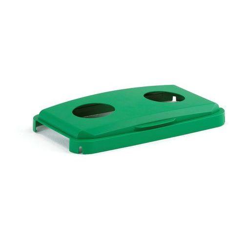 Aj Pokrywa na zawiasach z otworem na puszki/butelki do pojemnika 60 l,zielony
