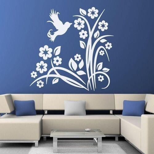 naklejka kwiatki ptak 1311