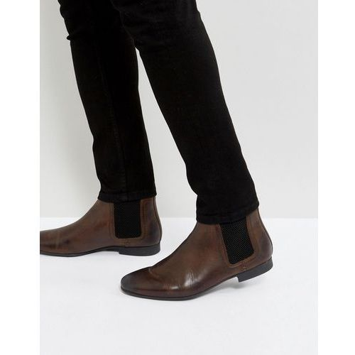 River island leather chelsea boots in brown - brown
