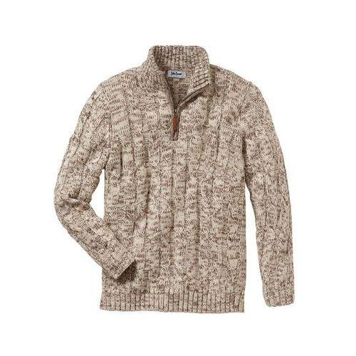 Sweter ze stójką Regular Fit bonprix beżowy melanż, kolor beżowy