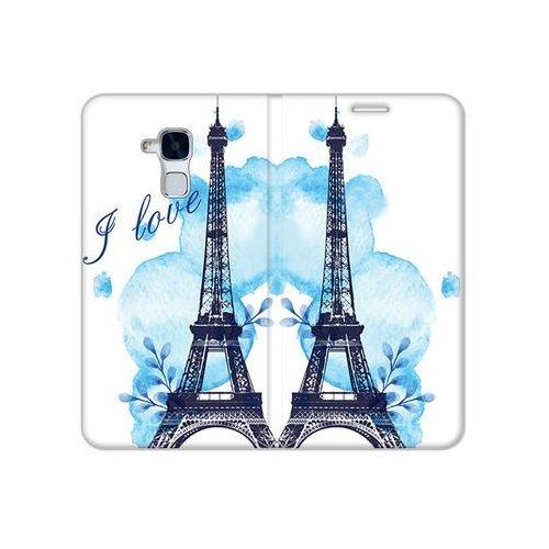 Huawei Honor 7 Lite - etui na telefon Flex Book Fantastic - niebieska wieża eiffla, ETHW368FBFCFB107000