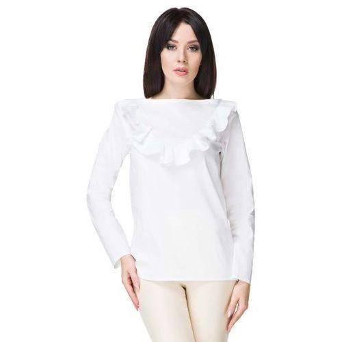 Biała bluzka wizytowa z falbanką, Tessita, 36-44