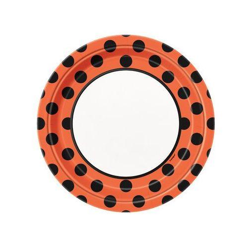 Talerzyki urodzinowe biało-pomarańczowe w czarne kropki - 23 cm - 8 szt.