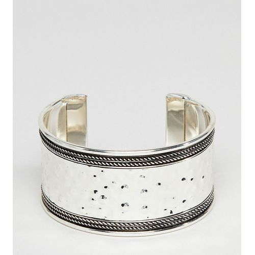 Asos design curve exclusive hammered and engraved cuff bracelet - silver marki Asos curve