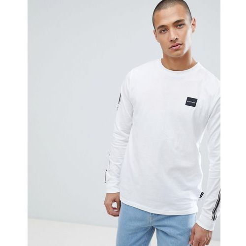 D-struct long sleeve side taped t-shirt - white