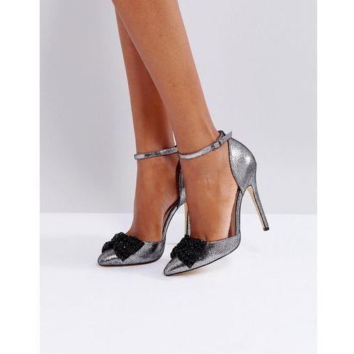 London rebel bow two part point high heels - grey