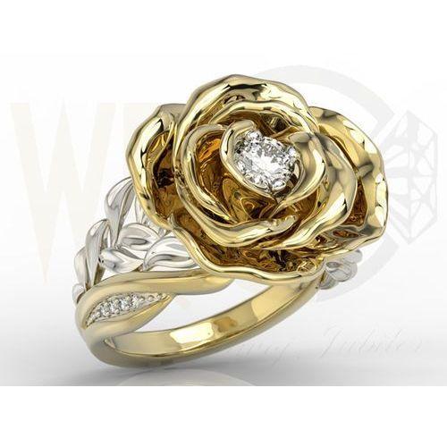 Węc - twój jubiler Pierścionek z żółtego i białego złota w kształcie róży z diamentami ap-95zb