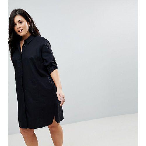 ASOS DESIGN Curve cotton mini shirt dress - Black