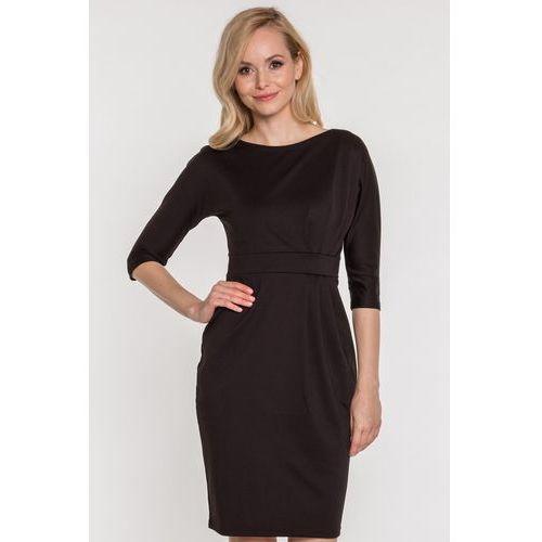 Czarna sukienka dzianinowa - Ryba, 1 rozmiar