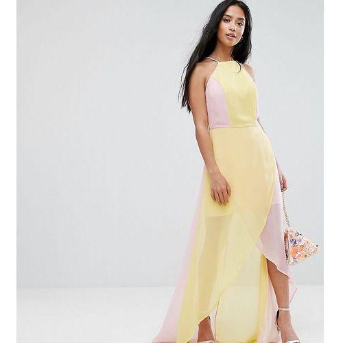 Asos petite  colourblock maxi dress - pink