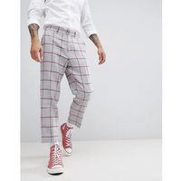 ASOS DESIGN Tapered Smart Trouser In Light Grey Wool Mix With Red Check - Grey, kolor szary