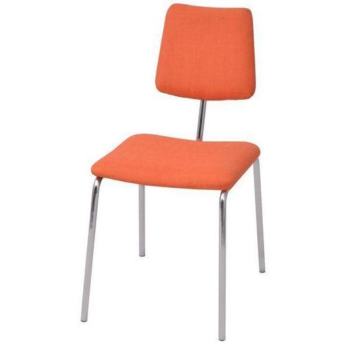 Krzesło jadalniane materiałowe, pomarańczowe, kolor pomarańczowy