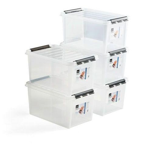 Aj produkty Pojemnik plastikowy lee z pokrywą, 47 l, 5 szt., 590x390x310 mm, przezroczysty