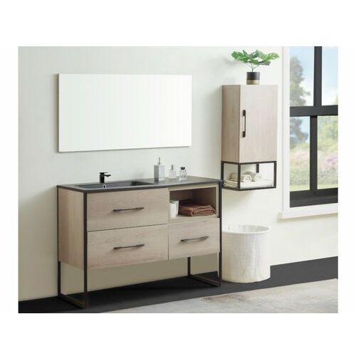 Zestaw mebli łazienkowych selane – szafka pod umywalkę i umywalka, lustro, słupek – drewnopodobny marki Shower design