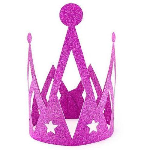 """Partydeco Korona party """"księżniczka - princess"""", papierowa, różowa brokatowa, 1 szt"""