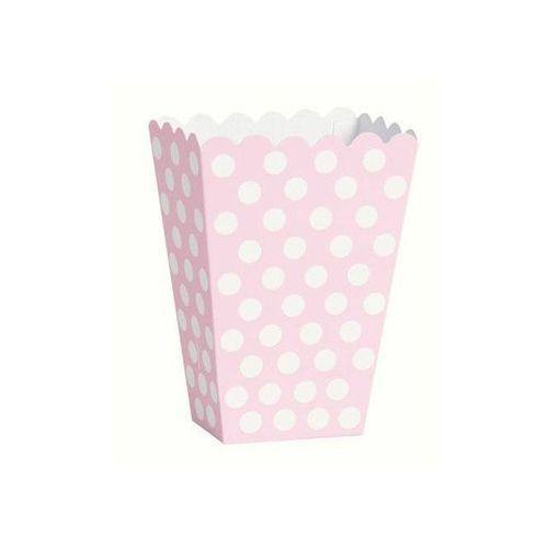 Pudełka na popcorn jasnoróżowe w białe kropki - 8 szt. (0011179592982)