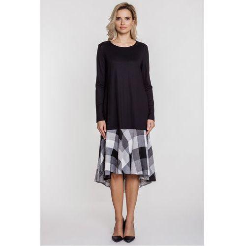 Czarna sukienka z asymetrycznym dołem w kratę - Click Fashion, 1 rozmiar
