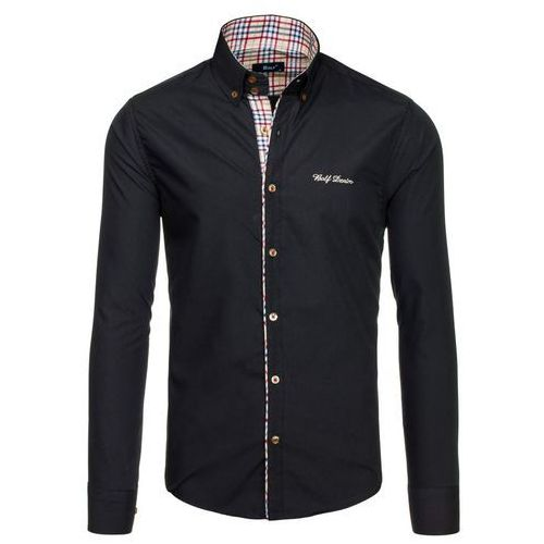 Czarna koszula męska elegancka z długim rękawem Bolf 5747-1 - CZARNY, kolor czarny