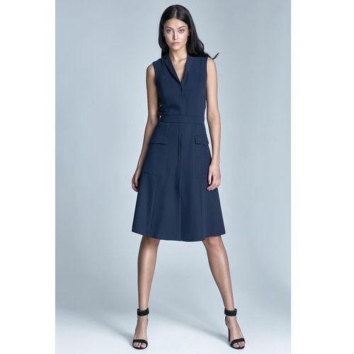 Nife Granatowa sukienka koszulowa szmizjerka z kieszeniami bez rękawów